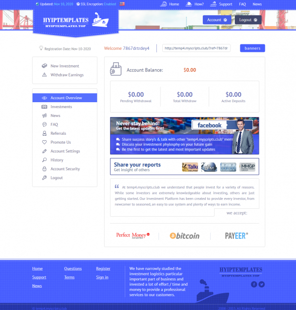 Goldcoders Hyip Template Free Hyip Manager Pro DEMO #4